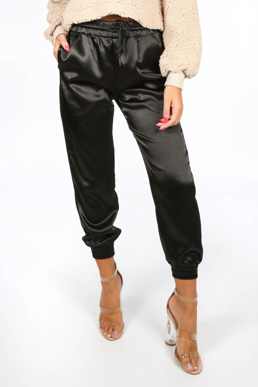 Black Satin Joggers With Elasticated Cuff