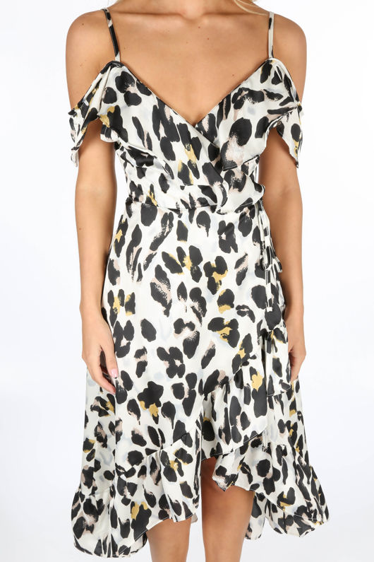 Beige Leopard Print Wrap Midi Dress