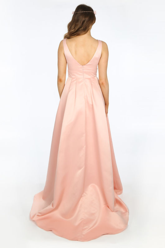 9f1b711dcc Plunge Neck Satin Maxi Dress In Pink
