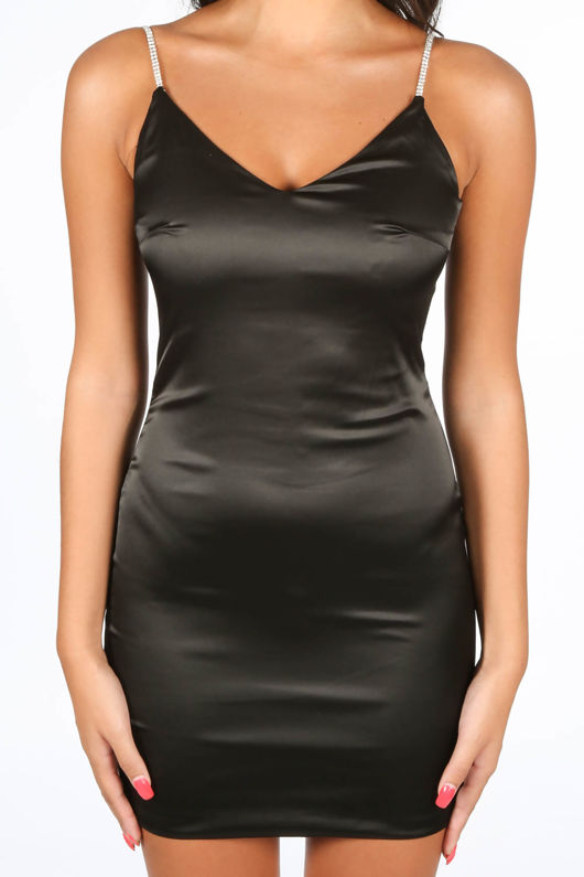 Black Satin Mini Dress With Diamante Straps
