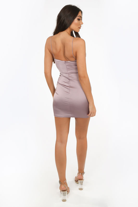 Mauve Satin Mini Dres