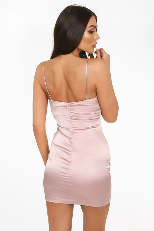 Dusky Pink Satin Mini Dress