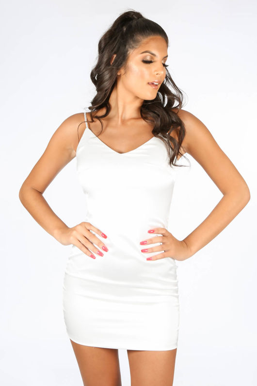 White Satin Mini Dress With Diamante Straps