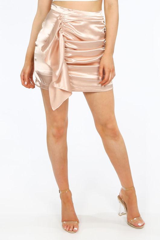Nude Satin Frill Front Mini Skirt