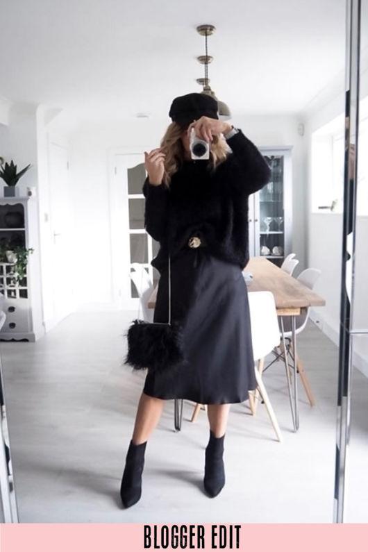 Black Satin Bias Midi Skirt