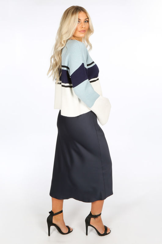 Navy Satin Bias Midi Skirt