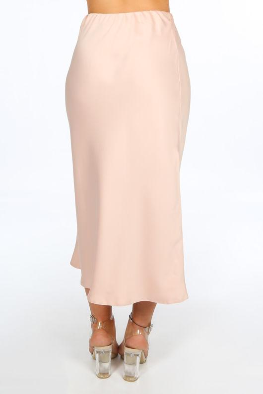 Pink Satin Bias Midi Skirt