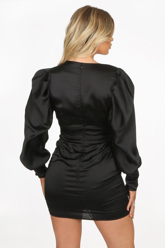 Black Satin Long Sleeve Mini Dress
