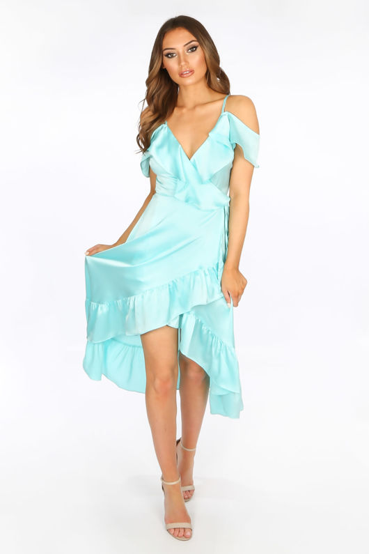 6f8395ad4a0 Turquoise Cold Shoulder Satin Midi Wrap Dress