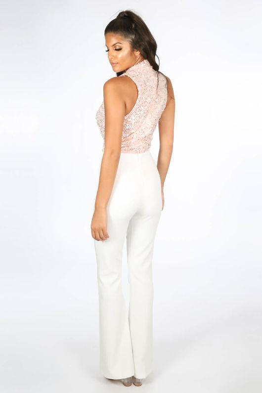 Sequin Plunge Front Bodysuit In Pink
