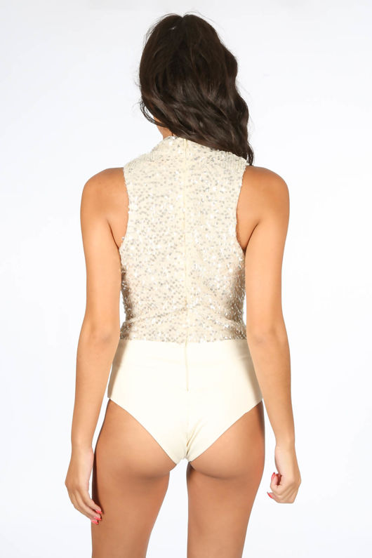 Sequin Plunge Front Bodysuit In Champagne
