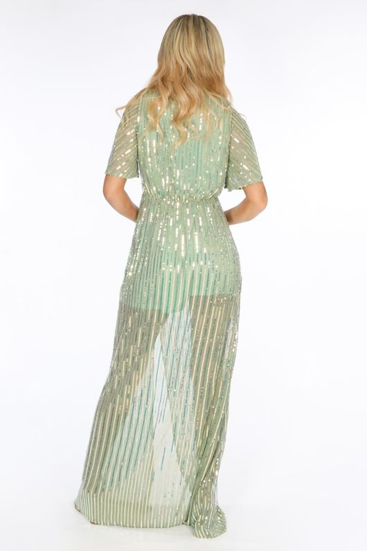 Green Sequin Maxi Dress With Split