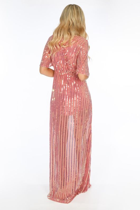 Pink Sequin Maxi Dress With Split