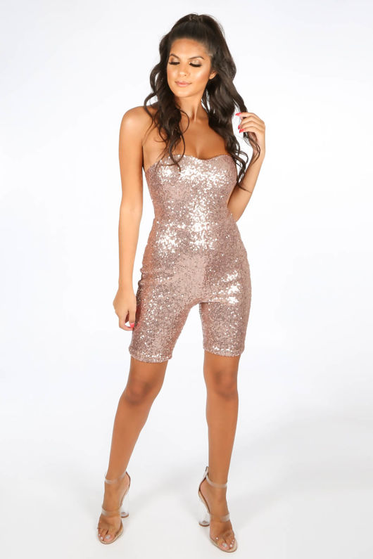 Pink Sequin Bandeau Fitted Playsuit