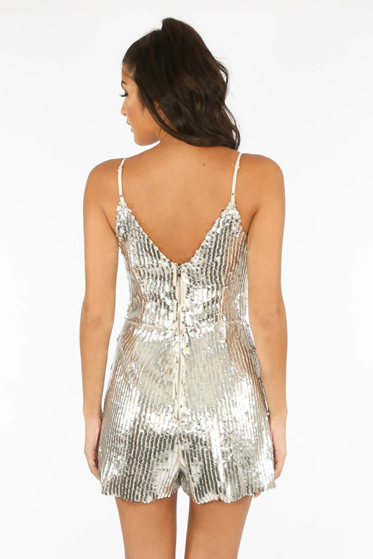 Striped Sequin Playsuit In Silver