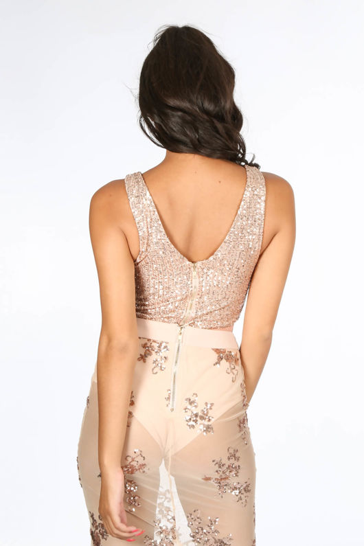 Pink Sequin Plunge Bodysuit