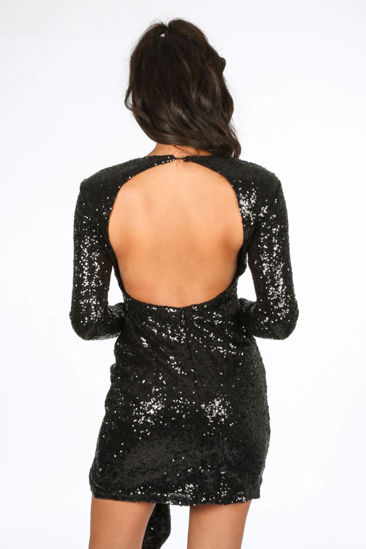 Black Open Back Gathered Sequin Mini Dress