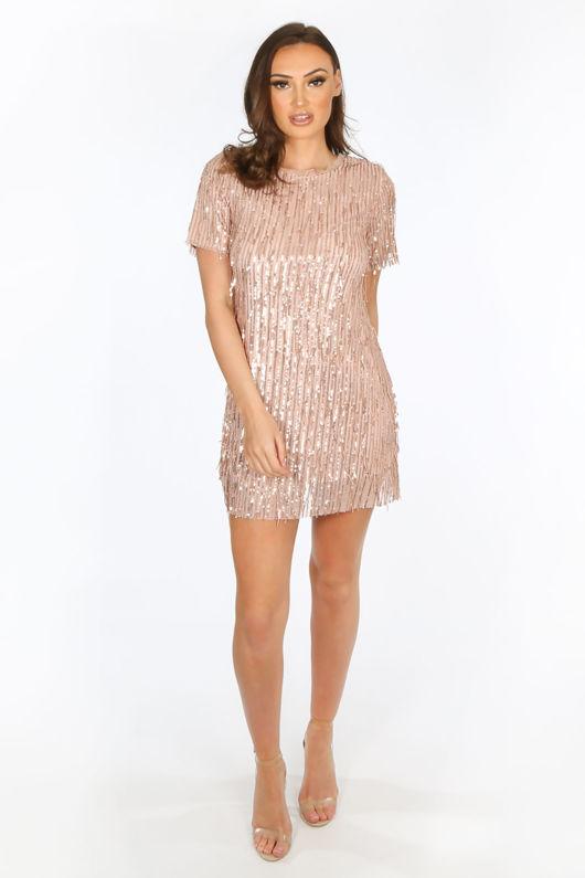 Sequin Short Sleeve Mini Dress in Pink
