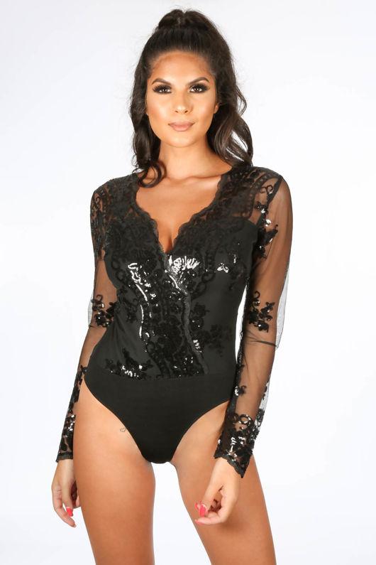 Black Long Sleeve Cross Back Sequin Bodysuit