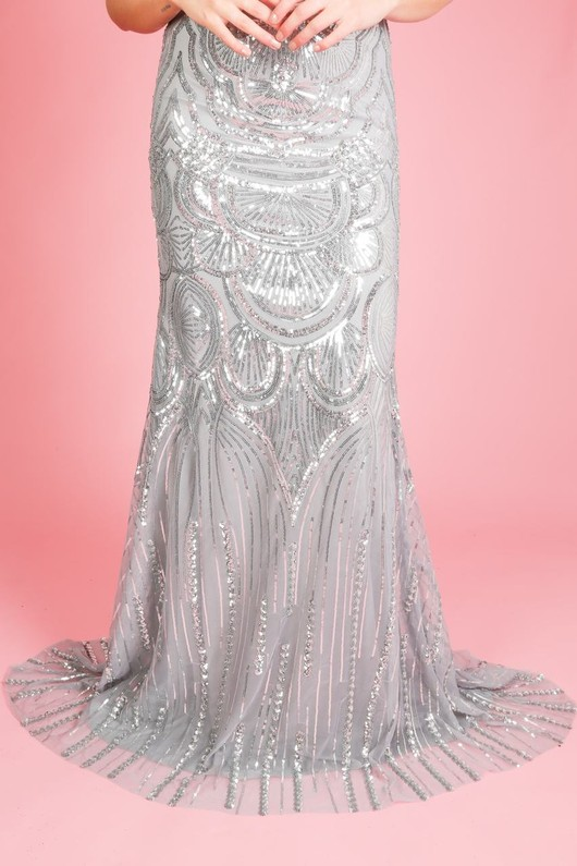 7981c68a Premium Collection Sequin Fish Tail Maxi Dress In Silver