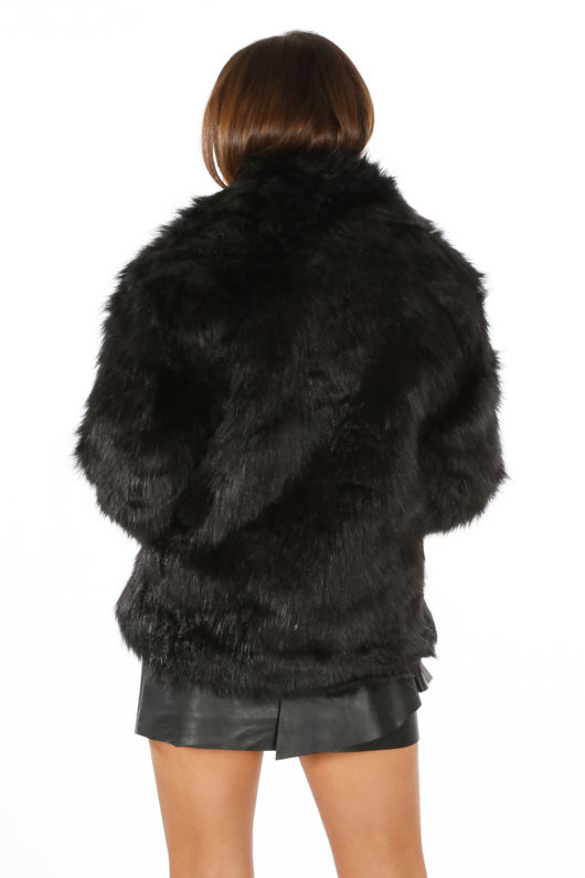 Luxe Faux Fur Coat In Black
