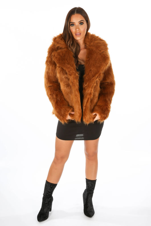 393b1b7c50e9 Luxe Faux Fur Coat In Rust