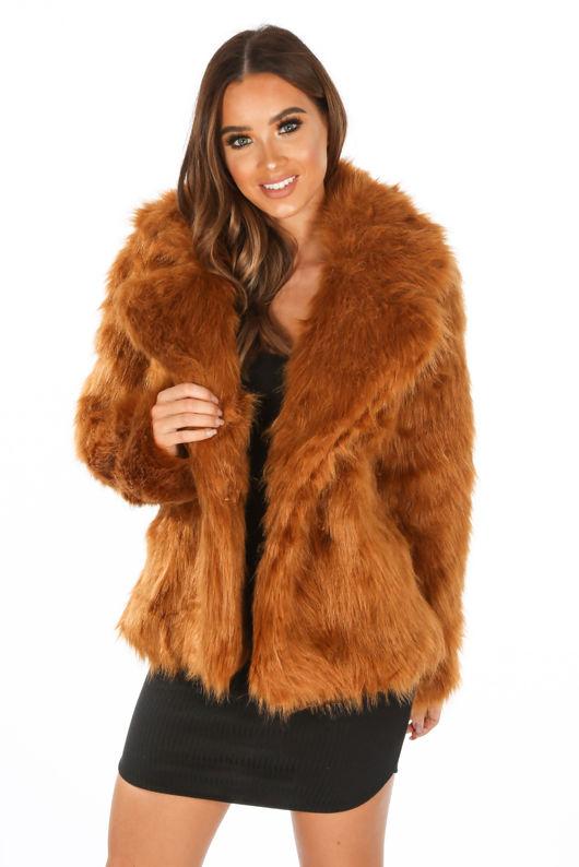 Luxe Faux Fur Coat In Rust