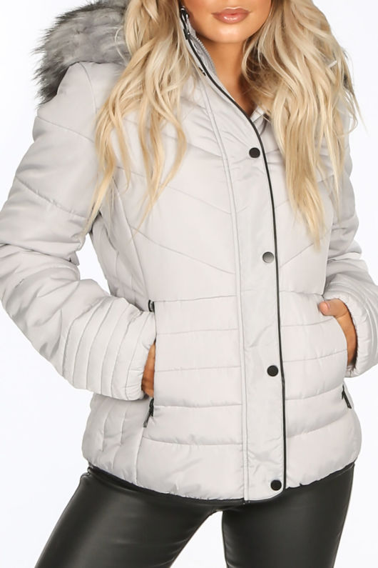 Grey Quilted Puffer Jacket With Faux Fur Trim