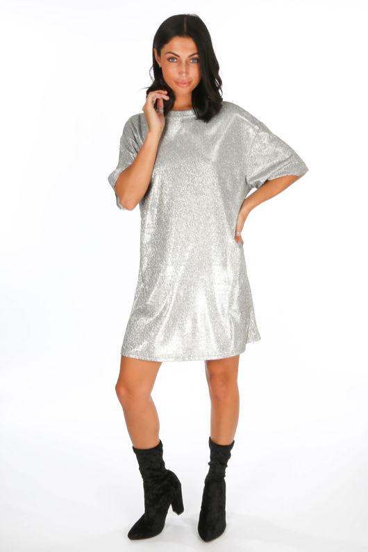 Silver Glittery T-Shirt Dress