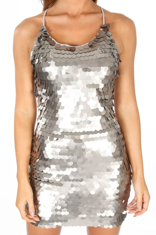 Silver Large Sequin Mini Cami Dress