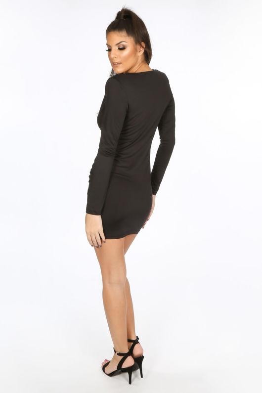 Black Plunge Wrap Mini Bodycon Dress