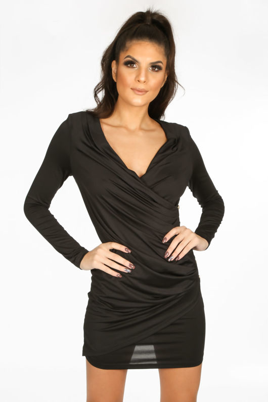 36aeb5284721 Black Plunge Wrap Mini Bodycon Dress