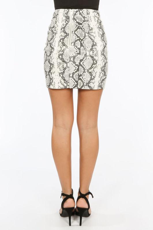 Snake Print PU Mini Skirt