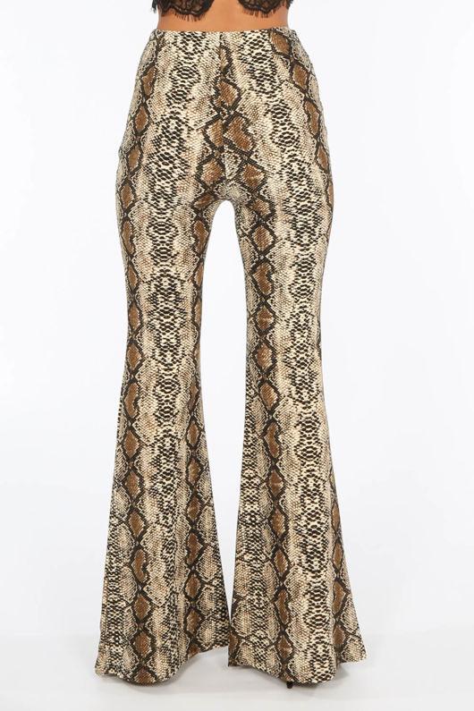 Split Snake Print Flare Trousers