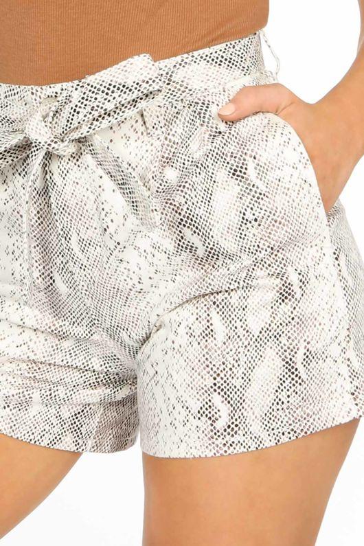 Snake Print Belted Shorts
