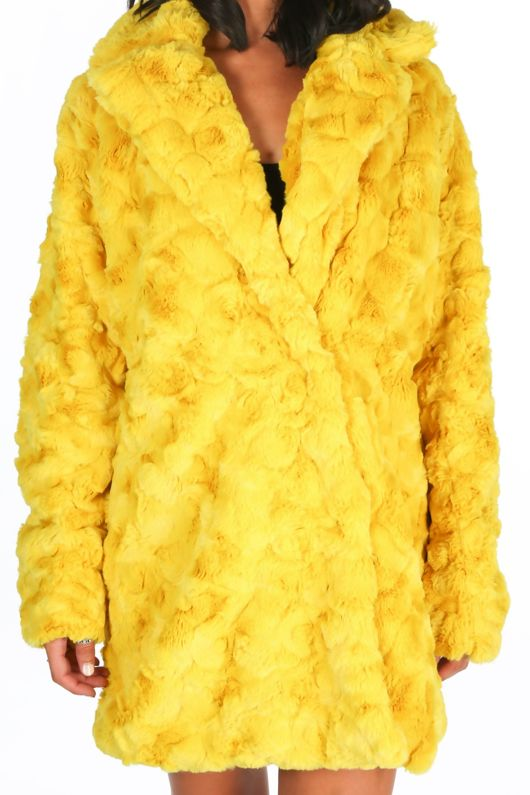 Soft Faux Fur Teddy Coat In Chartreuse
