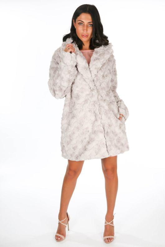 Soft Faux Fur Teddy Coat In Grey