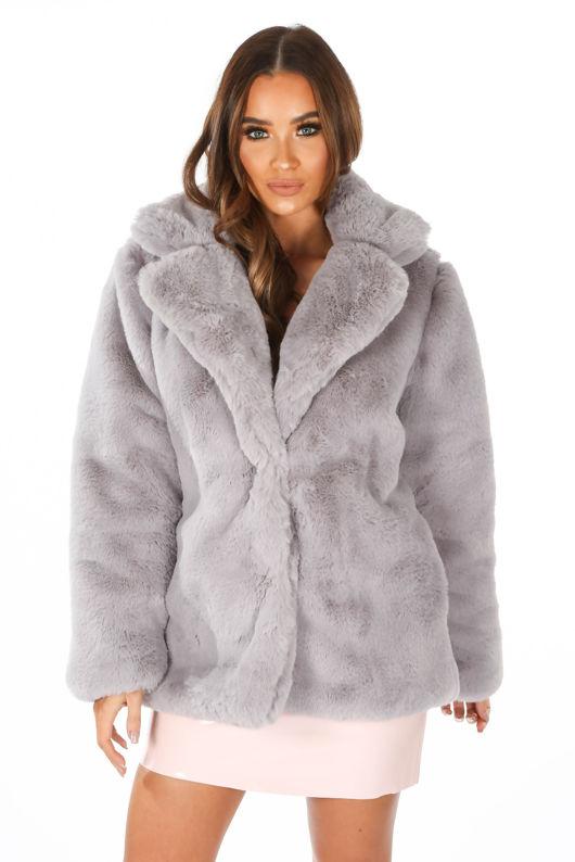 Soft Luxury Faux Fur Jacket In Grey