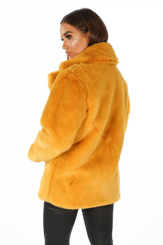 Soft Luxury Faux Fur Jacket In Mustard