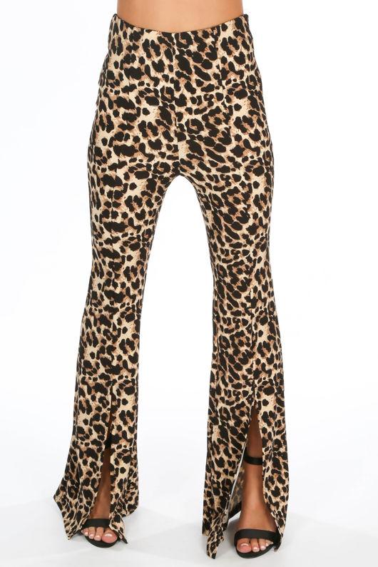 Split Front Leopard Print Flare Trouser