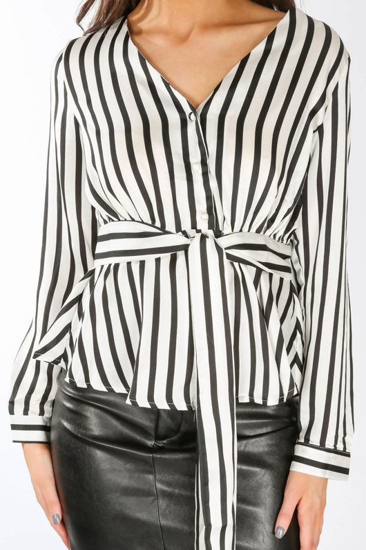 Black Striped Satine Peplum Blouse