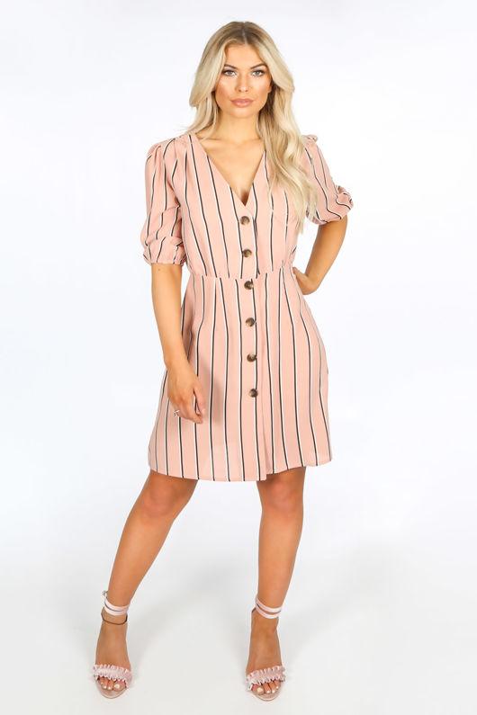 Pink Striped Print Mini Dress With Button Detail