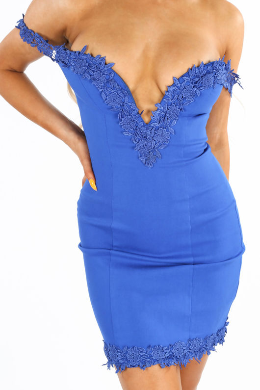 Sweetheart Bengaline Mini Dress In Cobalt Blue