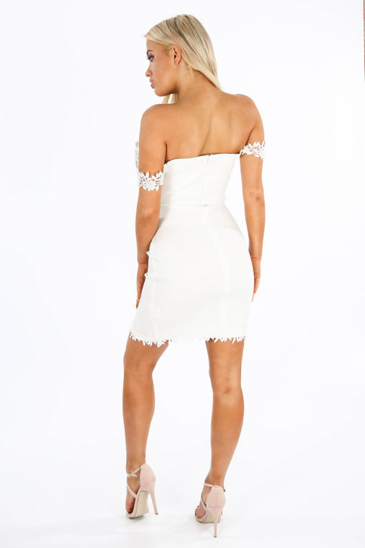 Sweetheart Bengaline Mini Dress In White