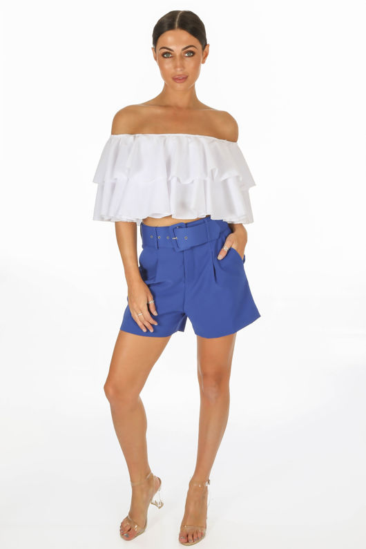 Tailored Belted Shorts In Cobalt Blue