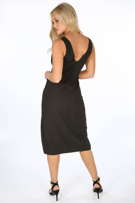 8ec93a535559 Black Tailored Midi Dress With Button Detail