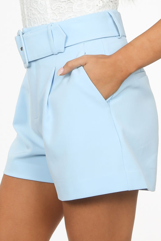 Belted Tailored Shorts In Powder Blue