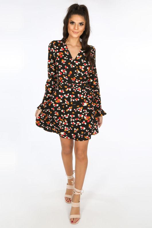 Black Printed Wrap Look Dress