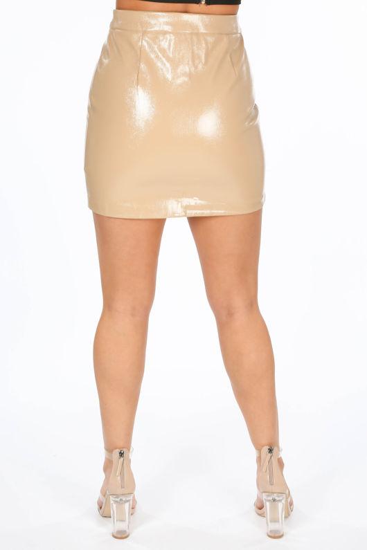 Taupe Vinyl Zip Front Mini Skirt