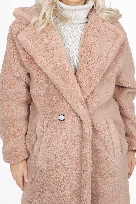 Beige Midi borg Teddy Coat